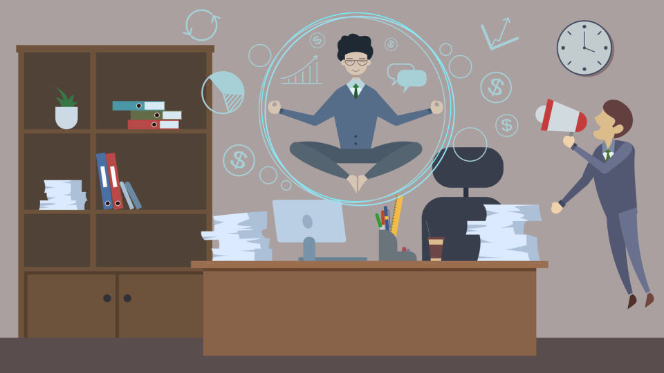 Bad angry boss shouting at employee with loudspeaker. Office man doing Yoga to calm down the stressful emotion from the boss and very busy working. Flat style. Vector illustration.
